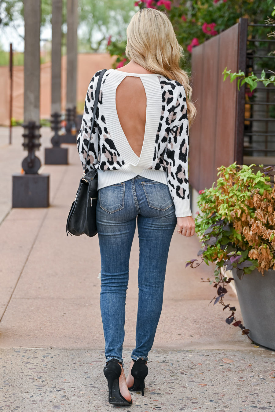 Good Potential Open Back Leopard Sweater - Ivory womens trendy long sleeve open back leopard print sweater closet candy front
