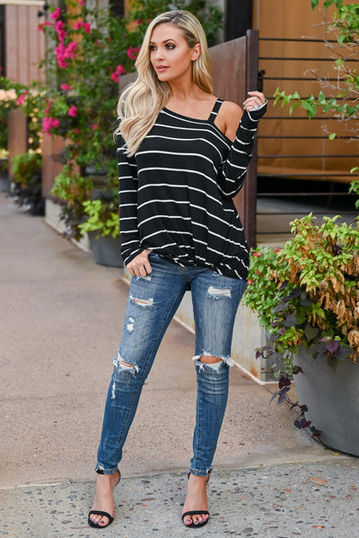 So Easy Going Striped Top - Black womens trendy cold shoulder twist front long sleeve top closet candy front