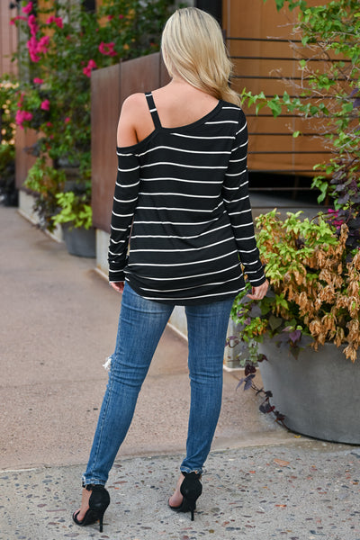 So Easy Going Striped Top - Black womens trendy cold shoulder twist front long sleeve top closet candy back