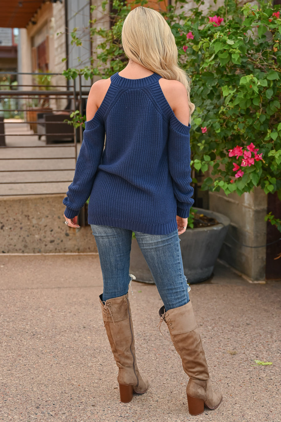 Fall Nights Cold Shoulder Knit Sweater - Navy long sleeve round neckline ribbed knit sweater closet candy front