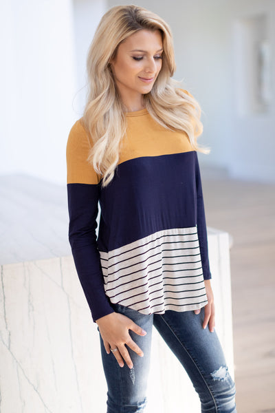 The Perfect Blend Top - Mustard, navy, soft long sleeve, stripe, color-block top with crochet trim detail center back detail, closet candy boutique 4