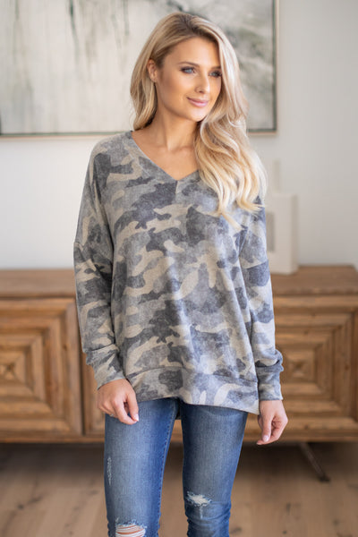 Never Gonna Stop Camo Top super soft camouflage print v-neck sweater, closet candy boutique 4