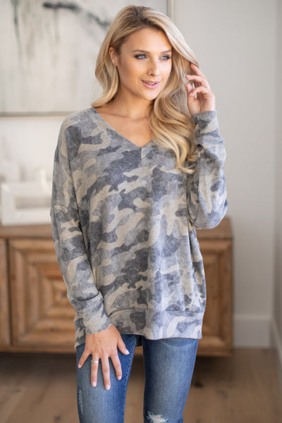 Never Gonna Stop Camo Top super soft camouflage print v-neck sweater, closet candy boutique 1
