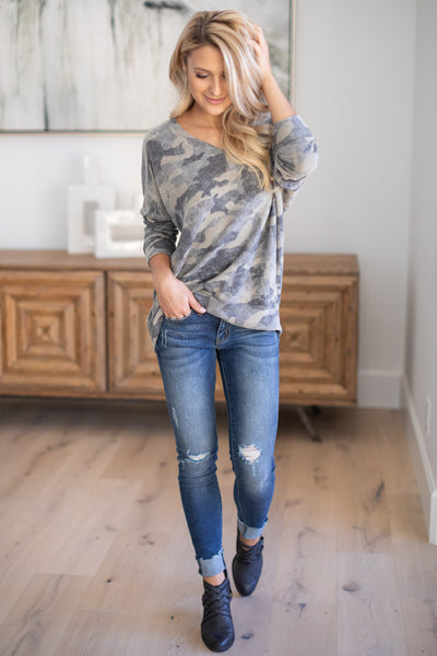 Never Gonna Stop Camo Top super soft camouflage print v-neck sweater, closet candy boutique 2