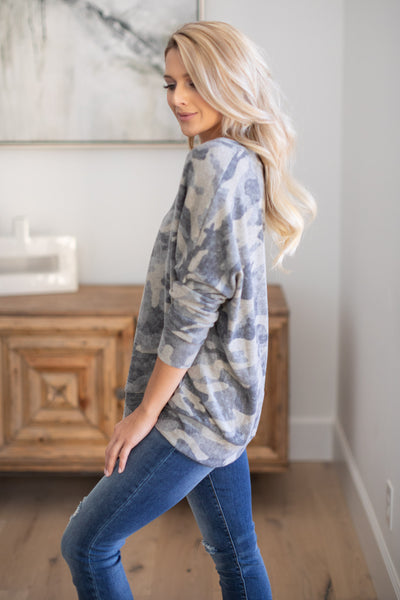 Never Gonna Stop Camo Top super soft camouflage print v-neck sweater, closet candy boutique 3