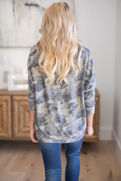 Never Gonna Stop Camo Top super soft camouflage print v-neck sweater, closet candy boutique 5
