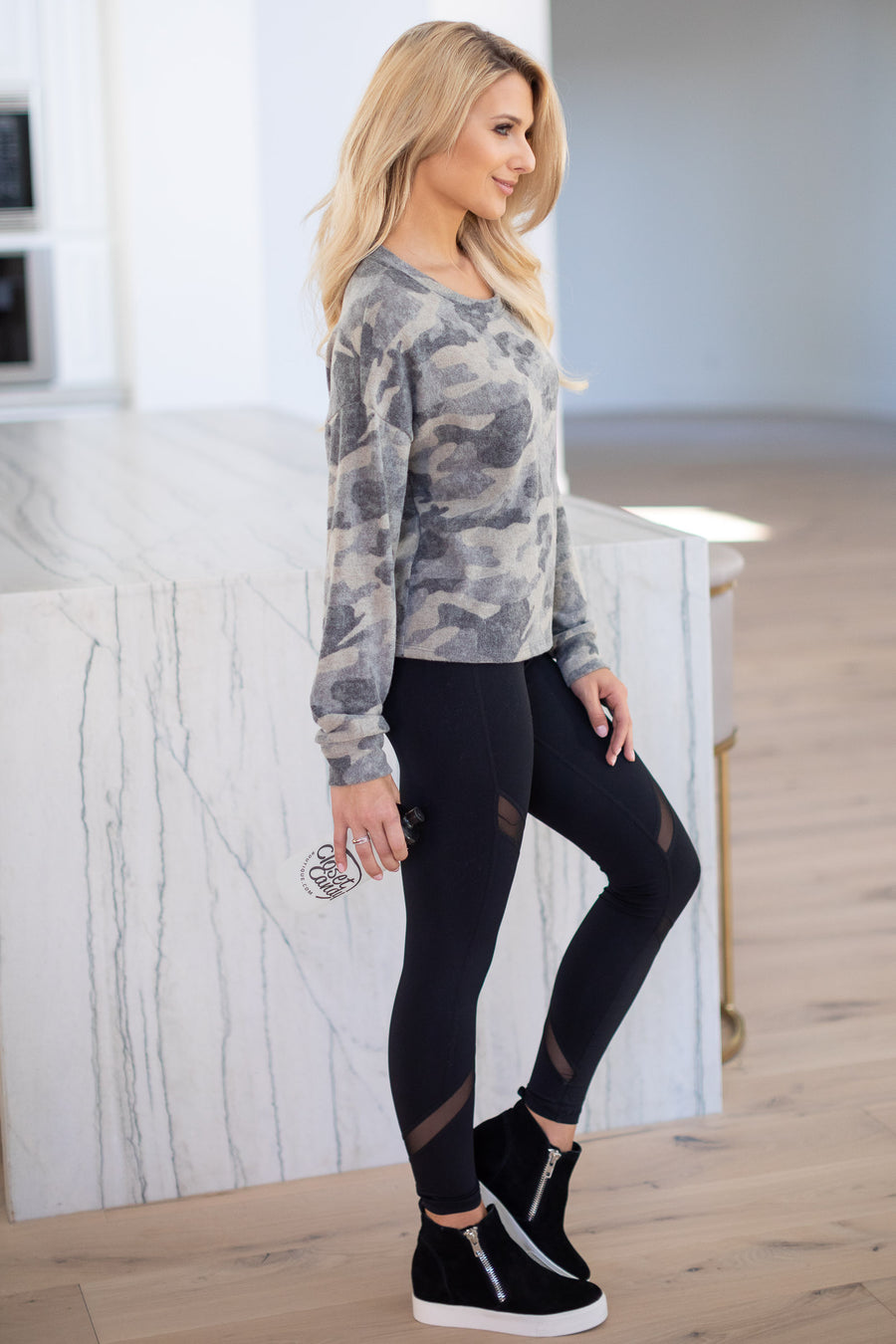 Live Your Best Life Camo Top long sleeve short camo print sweater closet candy boutique 1