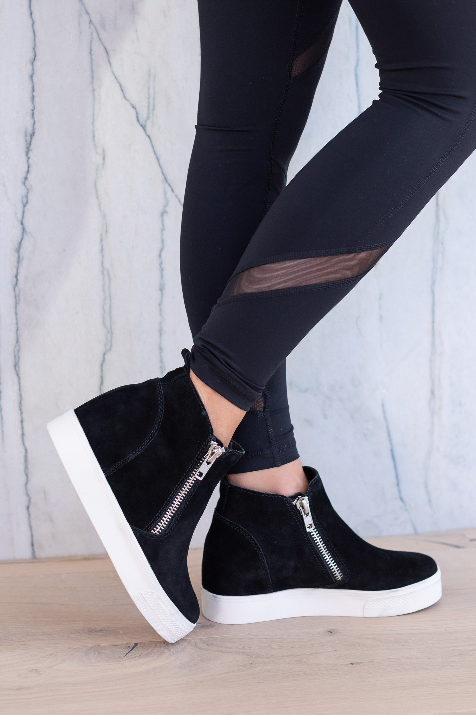 fa3565266a STEVE MADDEN Wedgie Sneakers - Black, wedge sole, zipper shoe, closet candy  boutique