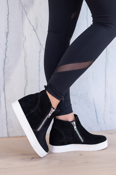 STEVE MADDEN Wedgie Sneakers - Black, wedge sole, zipper shoe, closet candy boutique 1