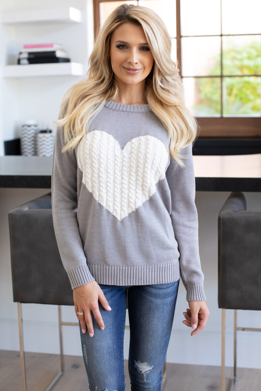 Follow Your Heart Sweater - Grey trendy women's knit sweater with heart on front, Closet Candy Boutique 1