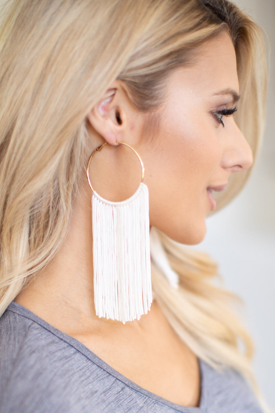 Keep Dancing Fringe Earrings - Gold & White hoop earring with fringe detail, closet candy boutique 1