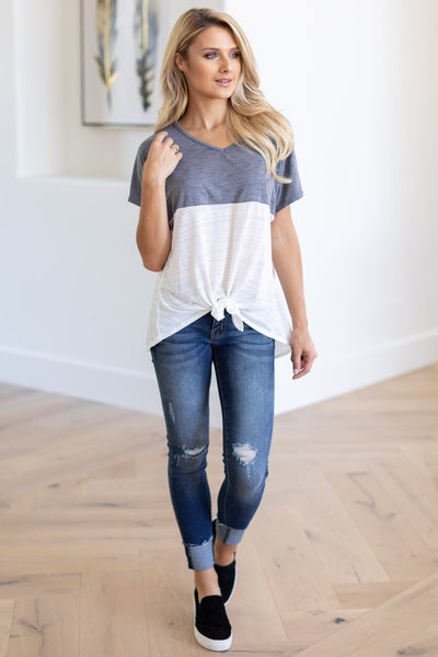 Knot Too Basic Tie Front Top - Charcoal & White v-neck color block tee, closet candy boutique 2