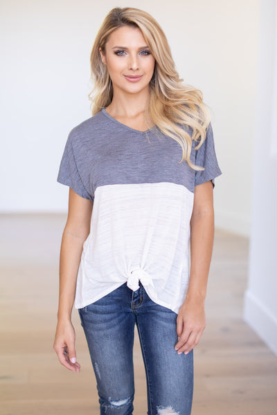 Knot Too Basic Tie Front Top - Charcoal & White v-neck color block tee, closet candy boutique 4