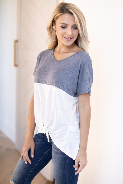 Knot Too Basic Tie Front Top - Charcoal & White v-neck color block tee, closet candy boutique 3
