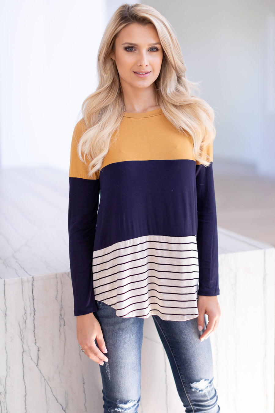 The Perfect Blend Top - Mustard, navy, soft long sleeve, stripe, color-block top with crochet trim detail center back detail, closet candy boutique 1