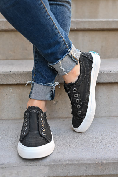 Wherever You Wander Sneakers - Faded Black womens casual slip on canvas tennis shoes closet candy front