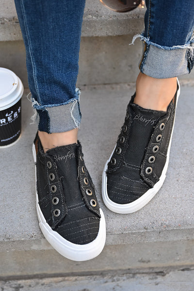 Wherever You Wander Sneakers - Faded Black womens casual slip on canvas tennis shoes closet candy closeup