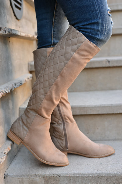 Valentina Boots - Taupe women's vegan leather and suede quilted tall boots, Closet Candy Boutique 1