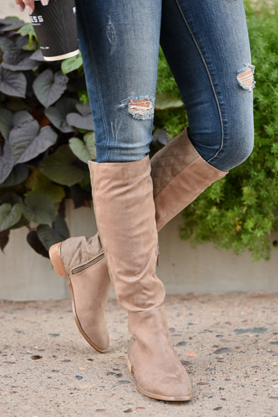 Valentina Boots - Taupe women's vegan leather and suede quilted tall boots, Closet Candy Boutique 2