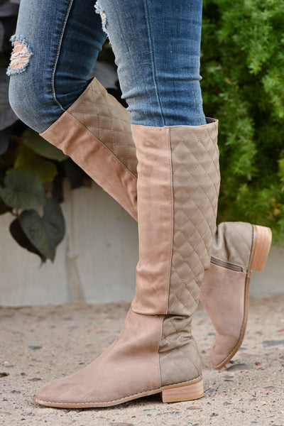 Valentina Boots - Taupe women's vegan leather and suede quilted tall boots, Closet Candy Boutique 3