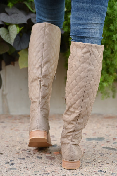 Valentina Boots - Taupe women's vegan leather and suede quilted tall boots, Closet Candy Boutique 4