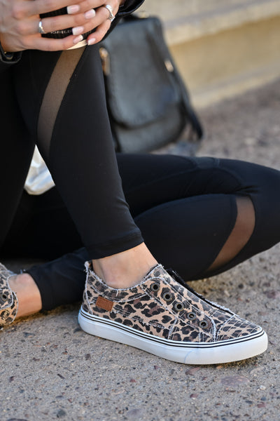 Wherever You Wander Sneakers - Leopard womens casual slip on comfortable tennis shoes closet candy sitting 2