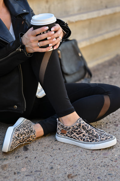 Wherever You Wander Sneakers - Leopard womens casual slip on comfortable tennis shoes closet candy sitting