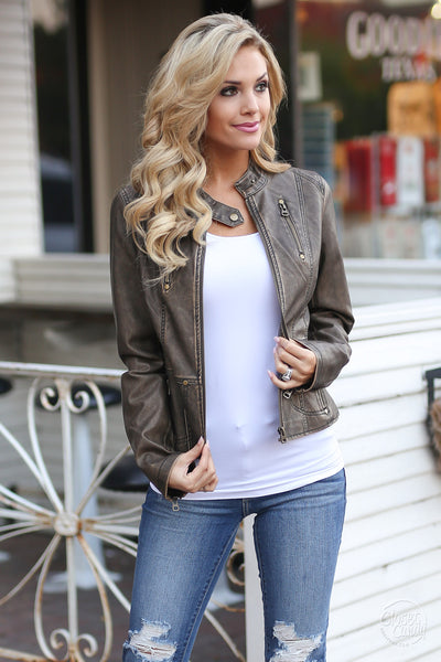 Ready For Take Off Jacket - chocolate leather jacket, Closet Candy Boutique 4