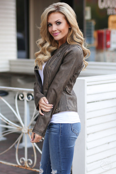 Ready For Take Off Jacket - chocolate leather jacket, Closet Candy Boutique 2