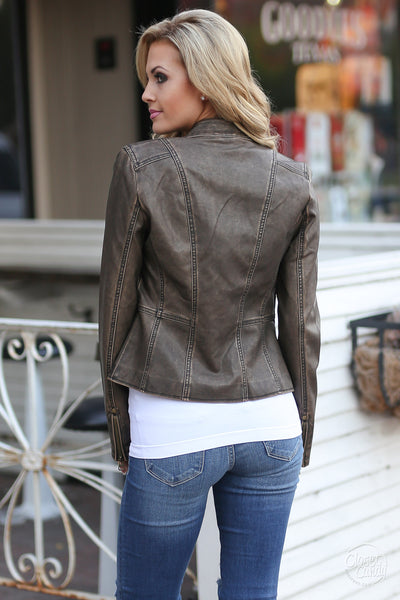 Ready For Take Off Jacket - chocolate leather jacket, Closet Candy Boutique 3