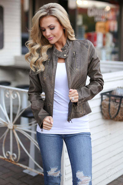 Ready For Take Off Jacket - chocolate leather jacket, Closet Candy Boutique 1