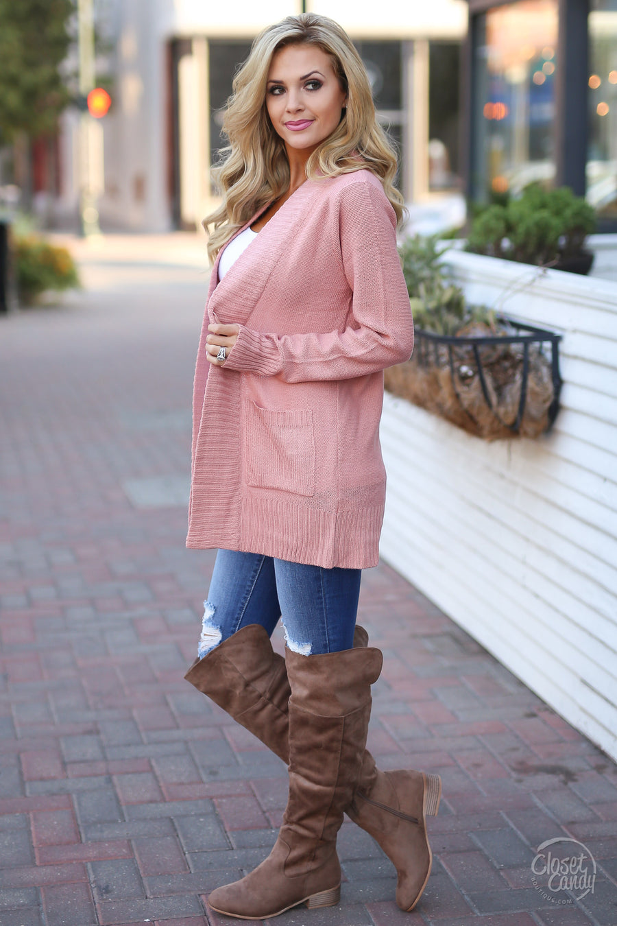At Your Leisure Cardigan - cute blush cardigan, outfit view, Closet Candy Boutique