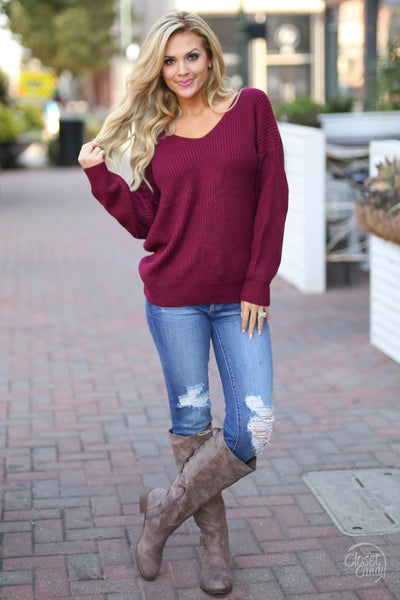 In Perfect Harmony Sweater - Wine knot twist back sweater, front view, Closet Candy Boutique 2