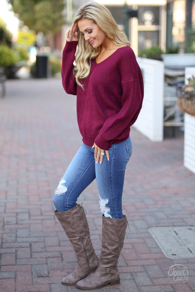 In Perfect Harmony Sweater - Wine knot twist back sweater, side view, Closet Candy Boutique 5