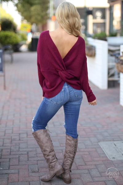 In Perfect Harmony Sweater - Wine knot twist back sweater, back view, Closet Candy Boutique 1