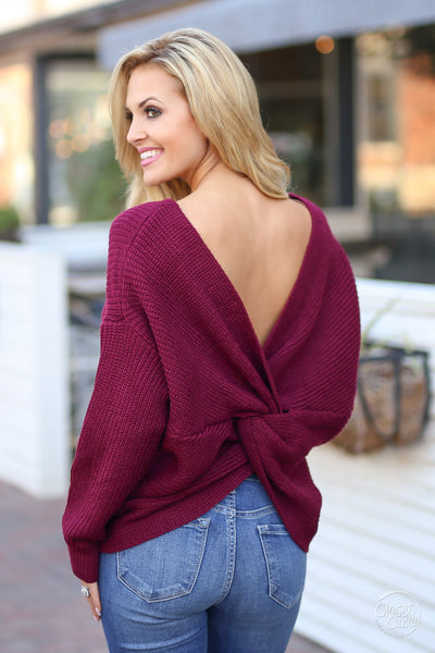 In Perfect Harmony Sweater - Wine knot twist back sweater, back view, Closet Candy Boutique 4