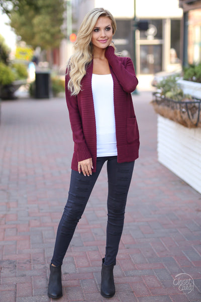 At Your Leisure Cardigan - cute wine cardigan, fall outfit, front, Closet Candy Boutique