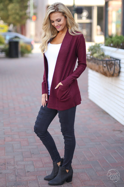 At Your Leisure Cardigan - cute wine cardigan, fall outfit, side, Closet Candy Boutique