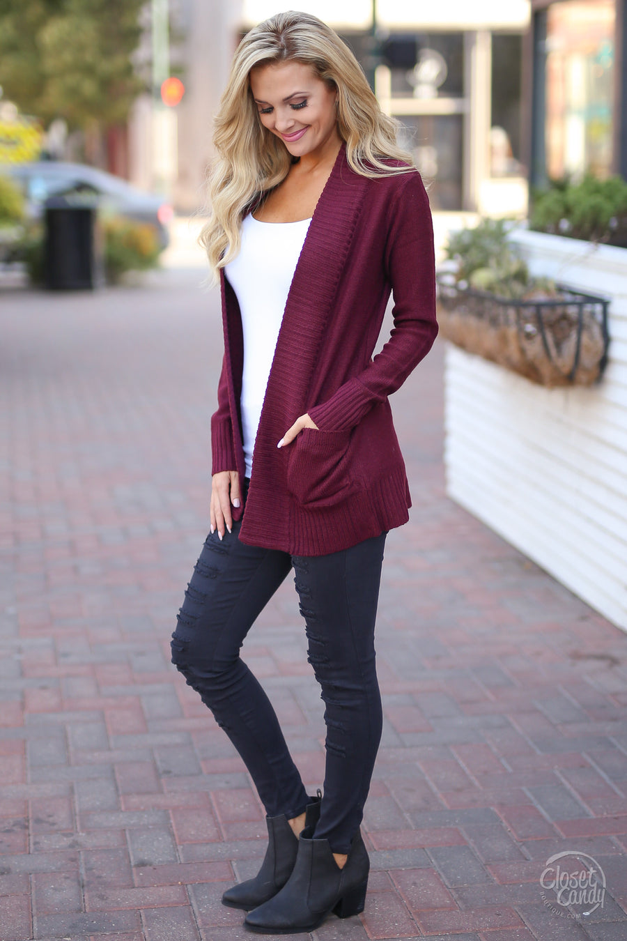 At Your Leisure Cardigan - cute wine cardigan, fall outfit, Closet Candy Boutique