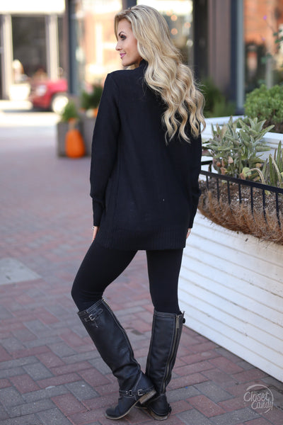 At Your Leisure Cardigan - Black knit cardigan, cute fall style, back, Closet Candy Boutique