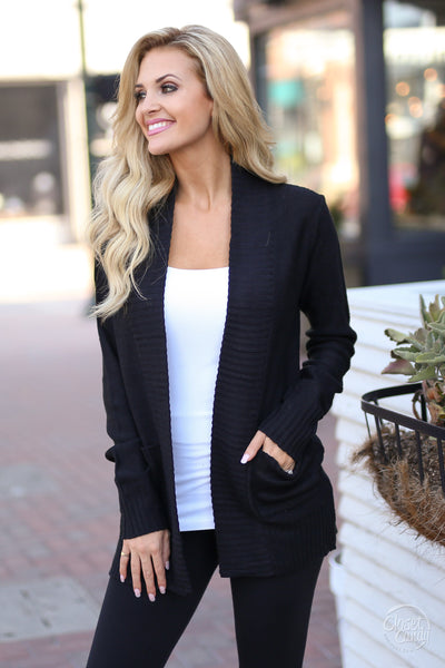 At Your Leisure Cardigan - Black knit cardigan, cute fall style, Closet Candy Boutique