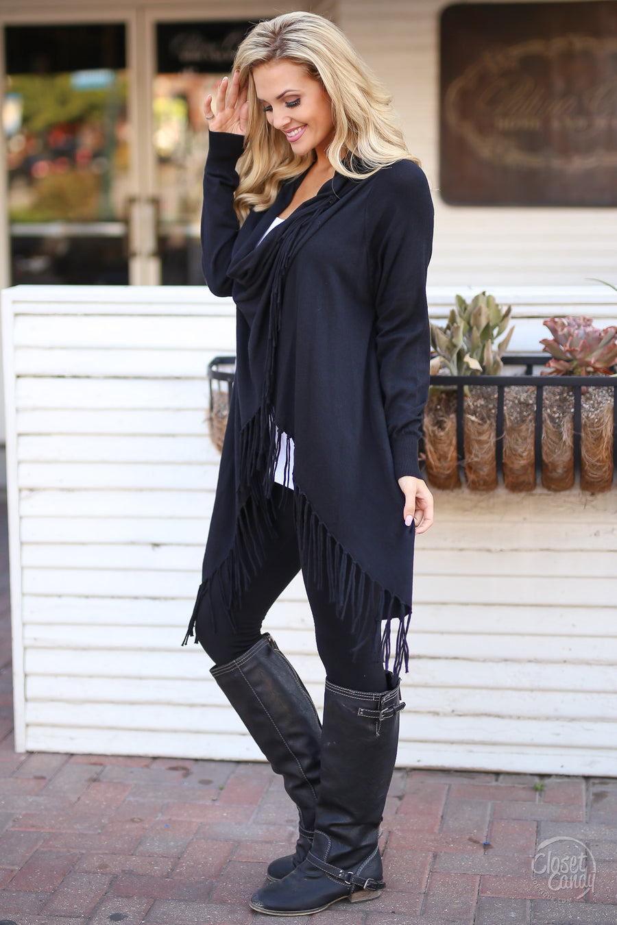 Wildfire Fringe Cardigan - Black fringe hem wrap cardigan, front, Closet Candy Boutique 1