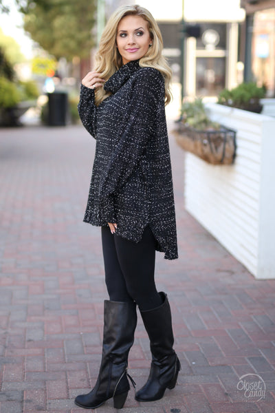 Hot Chocolate High Sweater - Heathered Black closet candy boutique oversized womens knit tunic
