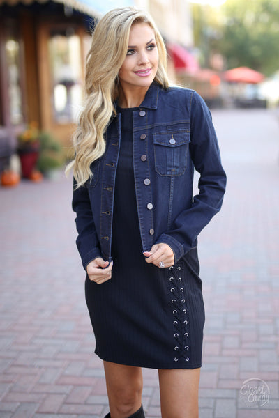 KUT FROM THE KLOTH Sara Denim Jacket - Dark Wash closet candy boutique