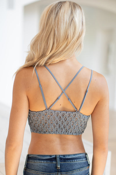 Day Dreamer Bralette - Dusty Blue women's scallop lace beautiful bralette closet candy boutique 2