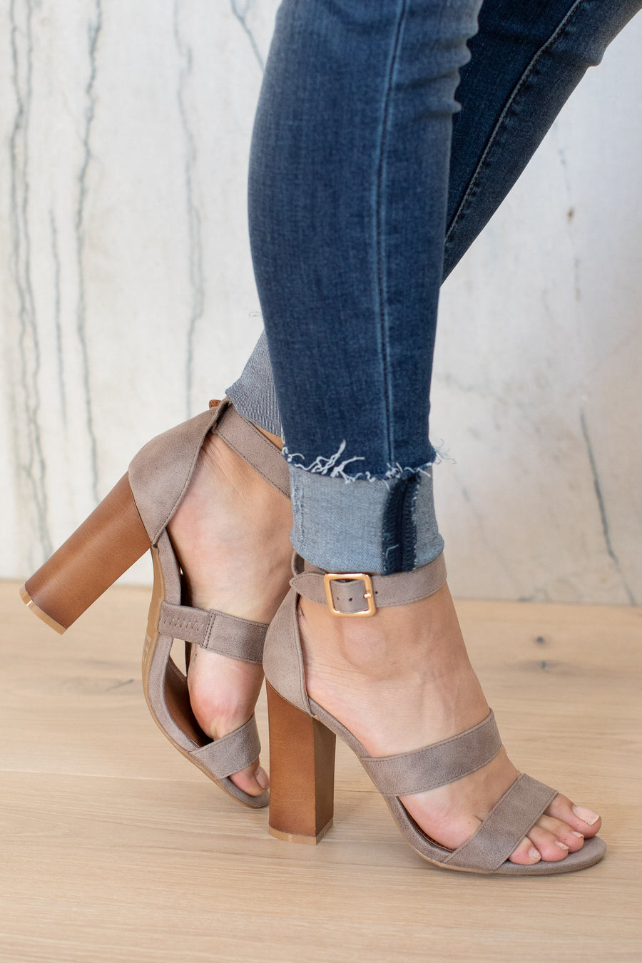 Madison Heels - Grey ankle strap heels with buckle, closet candy boutique 1
