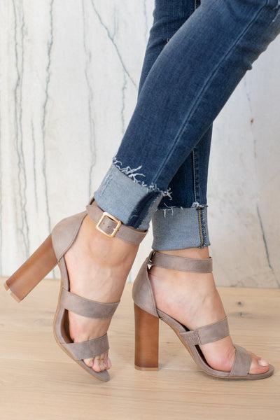 Madison Heels - Grey ankle strap heels with buckle, closet candy boutique 4