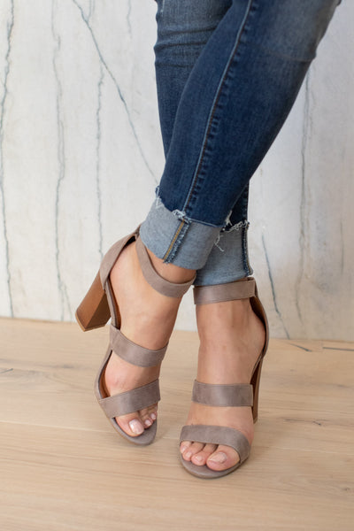 Madison Heels - Grey ankle strap heels with buckle, closet candy boutique 5