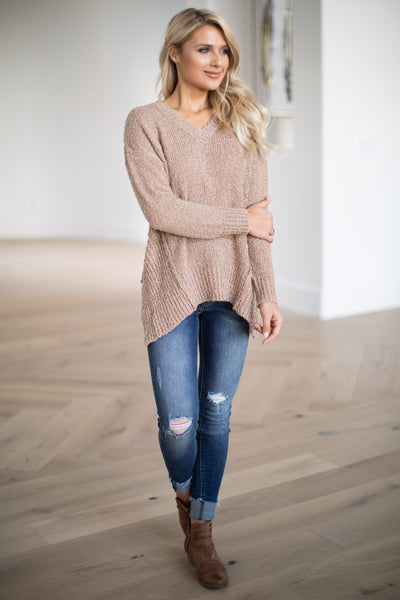 For Love & Lattes Sweater - Camel super soft textured women's ribbed pullover, closet candy boutique 2