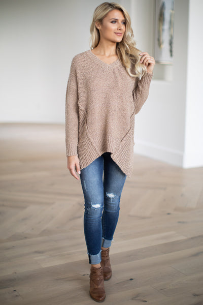 For Love & Lattes Sweater - Camel super soft textured women's ribbed pullover, closet candy boutique 1